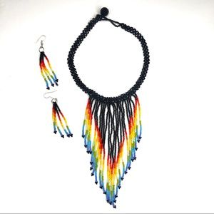 Colombian Handmade Long Colorful Necklace Beaded